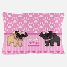 Pug Cuties Pink Stripes and Paws Pillow Case
