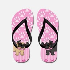 Pug Cuties Pink Stripes and Paws Flip Flops