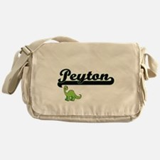 Peyton Classic Name Design with Dino Messenger Bag