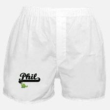 Phil Classic Name Design with Dinosau Boxer Shorts