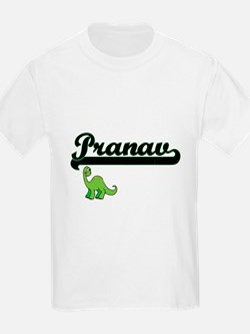 Pranav Classic Name Design with Dinosaur T-Shirt