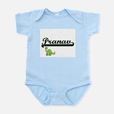 Pranav Classic Name Design with Dinosaur Body Suit