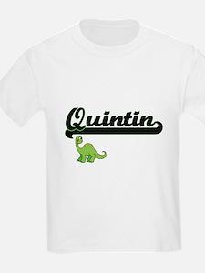 Quintin Classic Name Design with Dinosaur T-Shirt