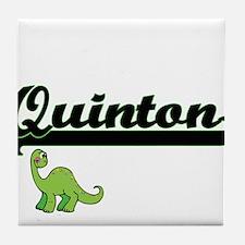 Quinton Classic Name Design with Dino Tile Coaster