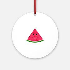 Smiling cartoon Watermelon Round Ornament