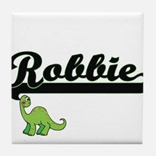 Robbie Classic Name Design with Dinos Tile Coaster