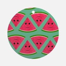 Smiling Cartoon Watermelon Pattern Round Ornament