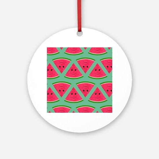 Smiling Cartoon Watermelon Pattern Round Ornament