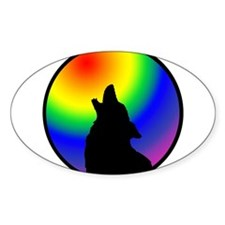 Wolf & Circle Gay Pride Oval Decal