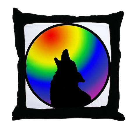 Wolf & Circle Gay Pride Throw Pillow
