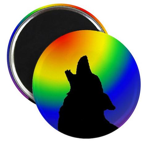 """Wolf & Circle Gay Pride 2.25"""" Magnet (10 pack)"""