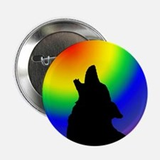 """Wolf & Circle Gay Pride 2.25"""" Button (100 pack)"""