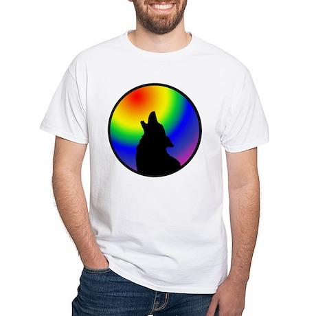 Wolf & Circle Gay Pride White T-Shirt