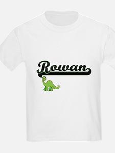 Rowan Classic Name Design with Dinosaur T-Shirt