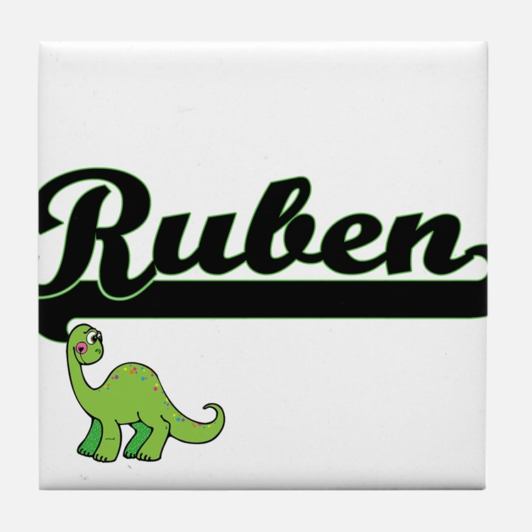 Ruben Classic Name Design with Dinosa Tile Coaster