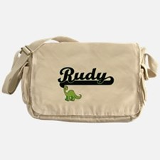 Rudy Classic Name Design with Dinosa Messenger Bag