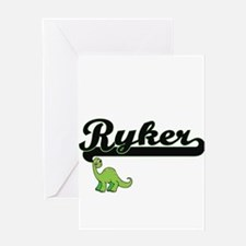 Ryker Classic Name Design with Dino Greeting Cards