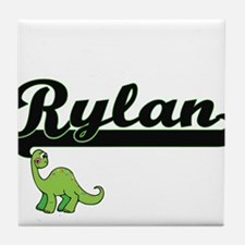 Rylan Classic Name Design with Dinosa Tile Coaster