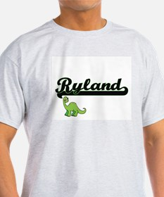 Ryland Classic Name Design with Dinosaur T-Shirt