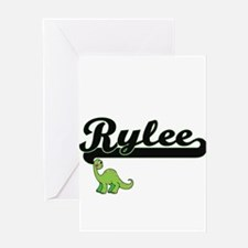 Rylee Classic Name Design with Dino Greeting Cards