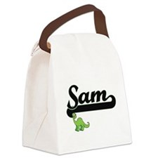 Sam Classic Name Design with Dino Canvas Lunch Bag