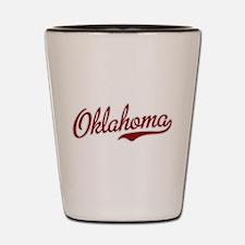 Oklahoma Script Font Garnet Shot Glass