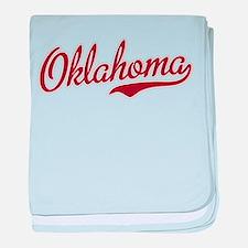 Oklahoma Script Font Garnet baby blanket
