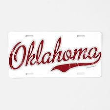 Oklahoma Script Font Garnet Aluminum License Plate