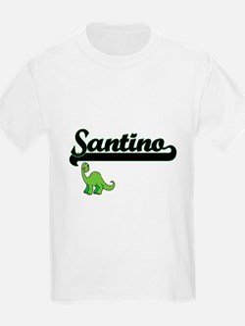 Santino Classic Name Design with Dinosaur T-Shirt
