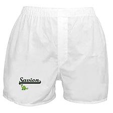 Savion Classic Name Design with Dinos Boxer Shorts
