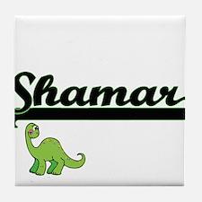 Shamar Classic Name Design with Dinos Tile Coaster