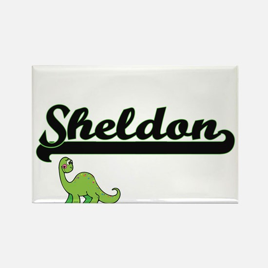 Sheldon Classic Name Design with Dinosaur Magnets
