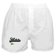 Silas Classic Name Design with Dinosa Boxer Shorts
