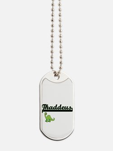 Thaddeus Classic Name Design with Dinosau Dog Tags