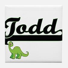 Todd Classic Name Design with Dinosau Tile Coaster