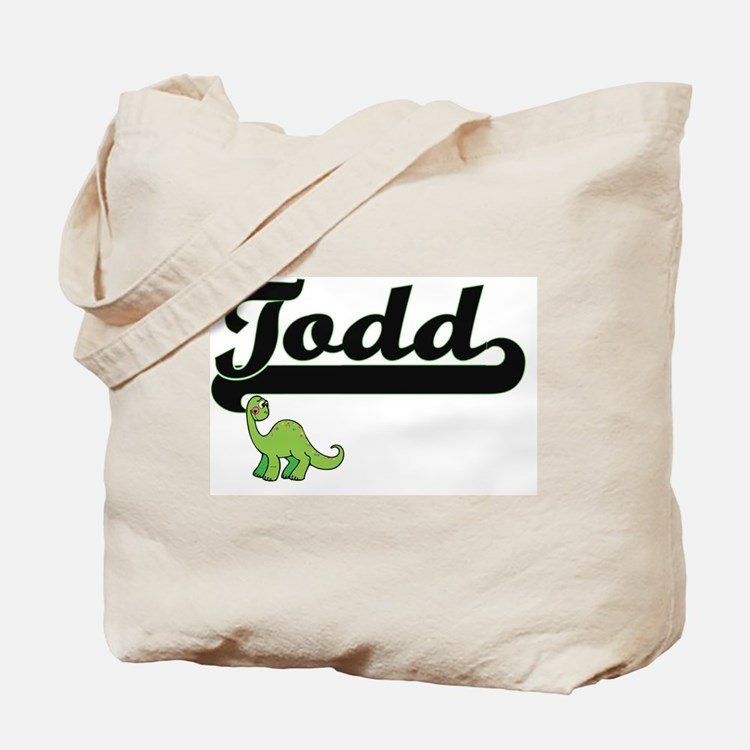 Todd Classic Name Design with Dinosaur Tote Bag