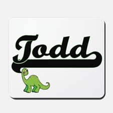 Todd Classic Name Design with Dinosaur Mousepad