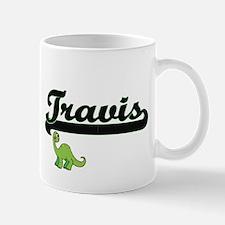 Travis Classic Name Design with Dinosaur Mugs