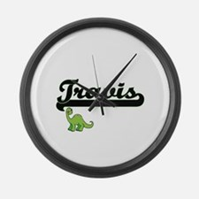 Travis Classic Name Design with D Large Wall Clock