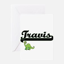 Travis Classic Name Design with Din Greeting Cards