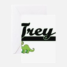 Trey Classic Name Design with Dinos Greeting Cards
