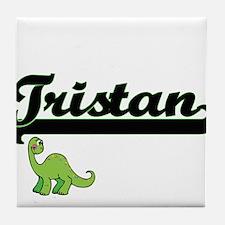 Tristan Classic Name Design with Dino Tile Coaster