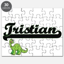 Tristian Classic Name Design with Dinosaur Puzzle