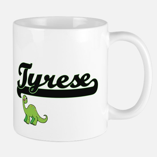 Tyrese Classic Name Design with Dinosau Mugs
