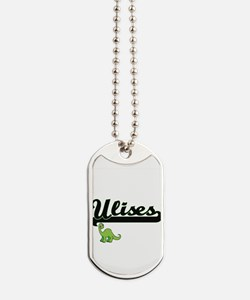 Ulises Classic Name Design with Dinosaur Dog Tags