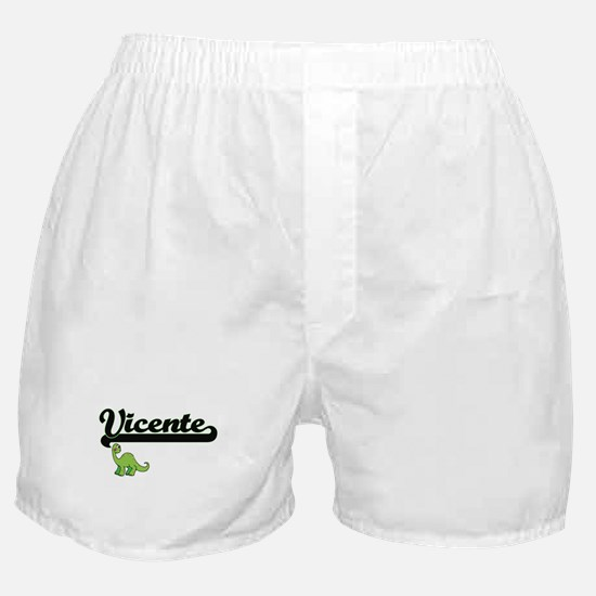 Vicente Classic Name Design with Dino Boxer Shorts