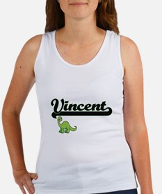 Vincent Classic Name Design with Dinosaur Tank Top