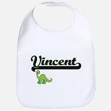 Vincent Classic Name Design with Dinosaur Bib