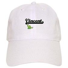 Vincent Classic Name Design with Dinosaur Baseball Cap