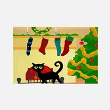 Christmas Cat (bl) Rectangle Magnet